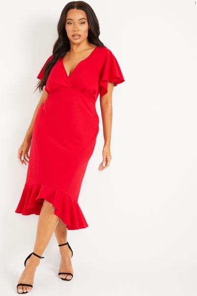 Curve Red Frill Hem Midi Dress